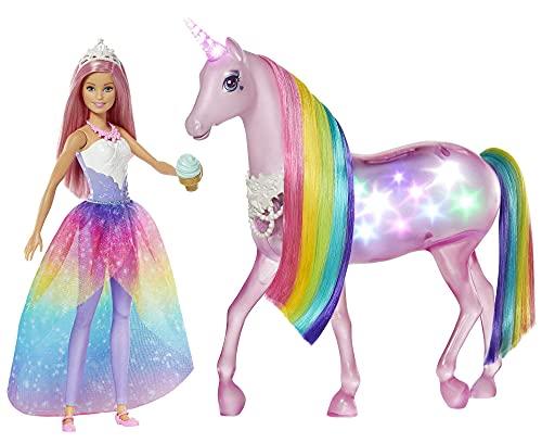 Barbie - Dreamptopia Muñeca con pelo rosa y su unicornio luces mágicas (Mattel GWM78),Embalaje sostenible