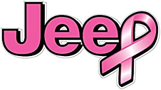 BOLDERGRAPHX 1065 Jeep logo Breast Cancer Awareness ribbon 2 pack