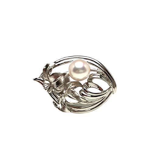Isowa Pearl(伊勢志摩の真珠専門店 イソワパール) アコヤ真珠 ブローチ 9.4mm ホワイトピンク シルバー 植物 67008