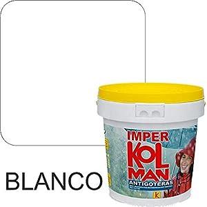 Revestimiento impermeabilizante alta calidad Imper Kolman. Caucho elástico antigoteras. (4 litros, blanco)