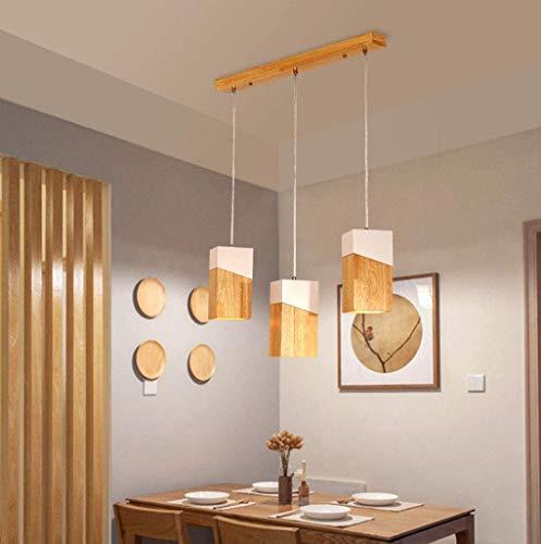 Modern Pendelleuchte Holz Lampe 3-flammig Esstischlampe Hängeleuchte Esszimmerlampe Höhenverstellbar Hängelampe für Restaurant Küchen Wohnzimmer Hotel Massivholz Dekor leuchten, E27 beleuchtung