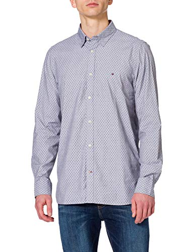 Tommy Hilfiger Slim Dotted Square Print Shirt Chemise, Yale Navy, L Homme