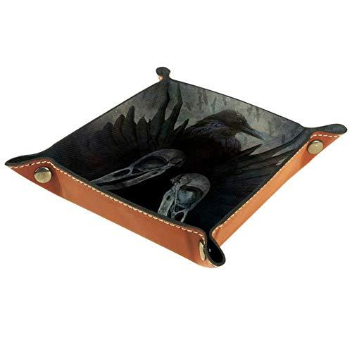 XiangHeFu Geheimnisvolle Coole Krähenflügel Valet Tray Ledertablett Leder Catchall Schlüssel Handy Münzkasten für Schlüsselgeld Nachttisch Storage Container Box Organizer