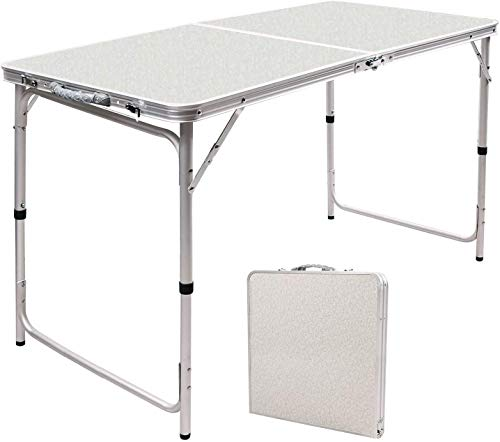 RedSwing 4 Feet Folding Camping Table Adjustable Height, Lightweight Portable Aluminum Table for Picnic Beach Outdoor Indoor, 47.2x23.6x22/27inch
