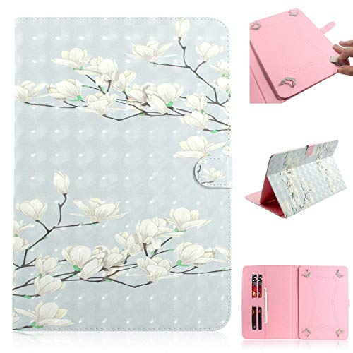 Universal Case for 9.5-10.5 inch Tablet, Techcircle Cute Slim Folding PU Leather Magnet Flip Cover w/Card Slots for iPad Pro/Air 10.5' 9.7', Galaxy Tab A 10.1', Lenovo Tab 4 10', Magnolia