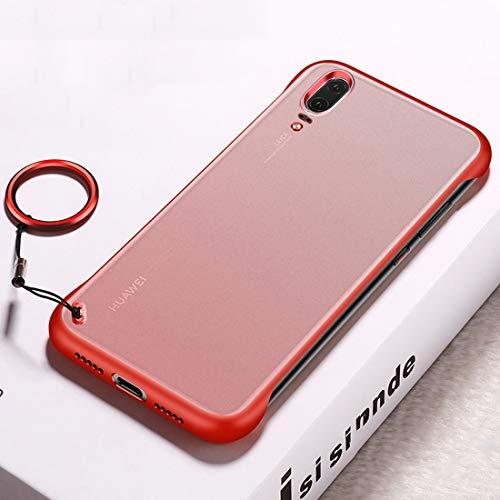 Sevenplusone Funda protectora de TPU con anillo de metal para Huawei P20 (negro) Todos los botones y puertos son accesibles. (Color: rojo)