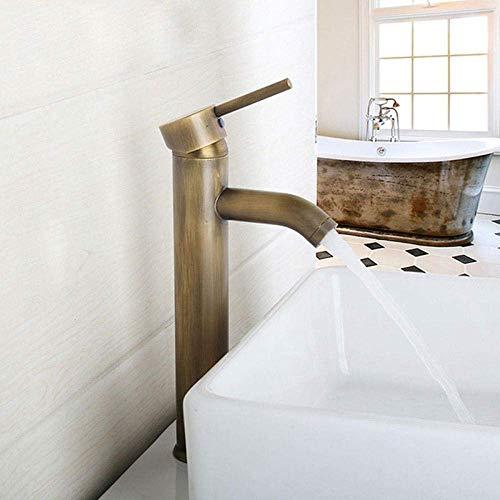 DJY-JY Grifo de latón antiguo estilo retro solo agujero lavabo cubierta montado sola manija agua caliente y fría grifo de la cocina