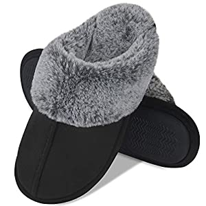 DL Women's Comfy Faux Fur Memory Foam Slippers Slip On House Slippers with Indoor, Outdoor Anti-Skid Sole Black Size: 7-8