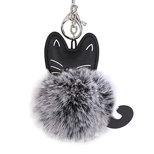 Ogquaton Premium qualité moelleux fourrure artificielle chat porte-clés pendentif sac de bijoux de...