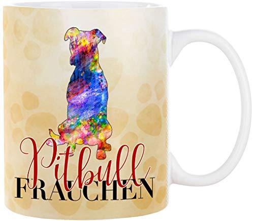 Cadouri Hunde-Tasse PITBULL FRAUCHEN mit Hunderasse┊Kaffeetasse Bürotasse┊Tasse mit Spruch für Hundebesitzer