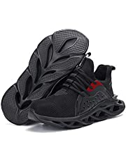 Bestgift Unisex Breathable Comfortable Anti-smashing Puncture-proof Steel Toe Cap Safety Shoes Black 42/US 8.5