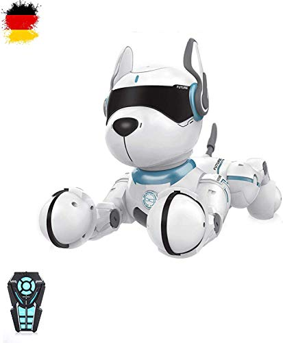 HSP Himoto Roboter Hund Dog RC ferngesteuert programmierbar mit Tanzfunktion, realistische Bewegungen, Sound- und Musikfunktionen und vieles mehr, Komplett-Set inkl. Fernsteuerung
