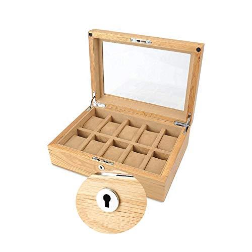 Mostrar pantalla Almacenamiento 10 tragamonedas Reloj de madera Caja de reloj de relojería Caja de reloj de reloj con tapa de vidrio para el almacenamiento del reloj (Color: Beige, Tamaño: 30x21.5x10c