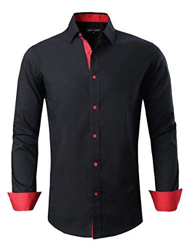 Damipow Mens Casual Button Down Shirts Long Sleeve Regular Fit Men Shirt(Black,XXLarge)