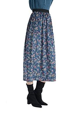 Tronjori Womens Print A Line Elastic Waistband Midi Skirt