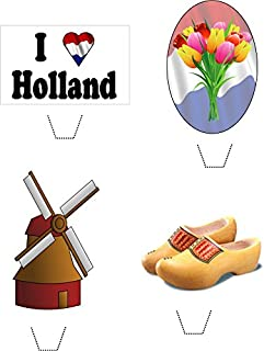 Novelty I Love Holland Mix 12 Edible Stand up wafer paper cake toppers (5 - 10 BUSINESS DAYS DELIVERY FROM UK)