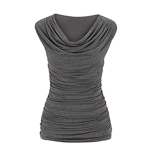 ESAILQ Frau LäSsiger Rundhals-Pullover äRmellos Schlank Abnehmendes T-Shirt Tops Bluse(XX-Large,Grau)