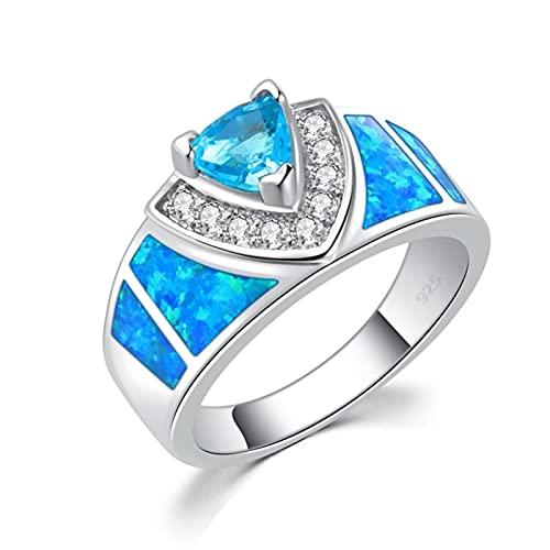 SALAN Anillo Chapado En Plata De Circonita Cúbica De Circonita Azul De Ópalo De Fuego Creado Azul Anillo De Joyería De Mujer