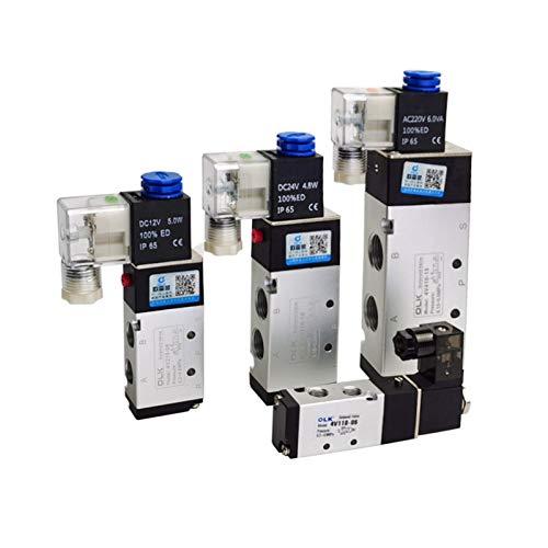 cjcaijun Válvula 4V210-08 4V110-06 M5 Válvula de Aire de solenoide neumático 1/4'1/8' 3/8'1/2' Pulgada 2/5 electromagnética 4V310-10 12V 24V 110V 220V (Color : 4V310 10, Specification : DC12V)