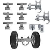 6' Chain Link Wall Mounted Rolling GATE Hardware KIT: (Chain Link Fence Gate Parts) (6' Rut Runner, 2 Track Wheels, 6 Wall Mounted Track Brackets, 1 Rolo Latch)