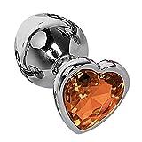 Stainless Steel Áň-āl Plǜĝ Ađûlt Aḷŧernätive Sėҳ Ṭoỵṣ Ḅackyårđ Massager Tools Heart-Shaped Jewel Bu-ťṭ Ṗḷuḡ for Çṍupḷes FlirtińģaA Gladiour (Color : Orange)
