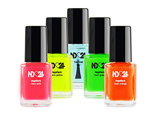 NEON Nagellack SET - 4 FARBEN Pink Orange Gelb Grün + TOP COAT klar - MADE IN GERMANY