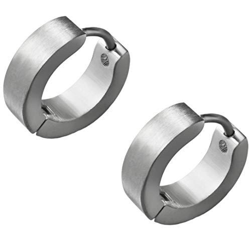 Klassische Creolen Ohrringe Ohrhänger Silber Matt. Klapp-Creolen Edelstahl 4mm breit. Ohrschmuck für Damen und Herren 2 Stück (1 Paar)