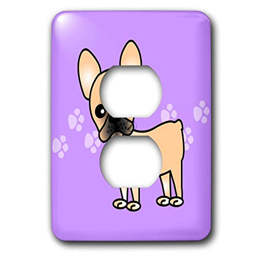 3dRose lsp_25345_6 Cute Masked Fawn Cream French Bulldog Pawprints Outlet Cover, Black/Purple