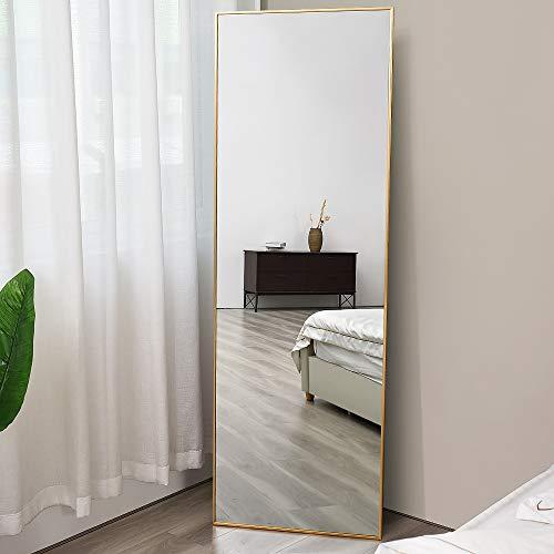 """Full Length Mirror, Floor Standing Mirror, Full Body Mirror, Wall Mirror Full Length, Floor Mirror Full Length, Multi-Purpose Standing and Hanging, Thin Aluminum Frame, 65""""×22"""", Gold"""