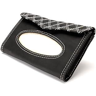 Trait-Tech Car Sun Visor Tissue box Auto Accessories Holder Paper PU Leather Napkin Box Clip Black