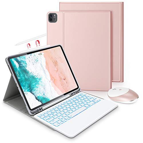Jelly Comb Beleuchtete Tastatur Hülle mit Maus für iPad Pro 12,9 2018/2020 (3. und 4. Generation), Mit Pencil Aufladung-Funktion, QWERTZ Bluetooth Tastatur mit Schützhülle und Funkmaus, Gold Rose