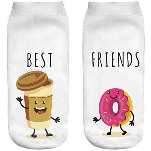 Lustige Socken Sneaker Halbsocken Strümpfe Sportsocken Füßlinge mit Motiv 3D Weihnachten Ferien Seasons Lutscher süßer Coffe+Donut [001]