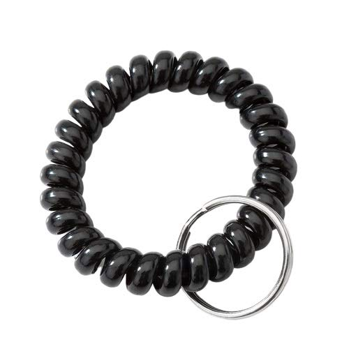 "ZNZN Key Holder (10 Pack) Plastic Keychain 2.1"" Diameter Spiral Wrist Coil With Steel Key Ring, Flexible Wrist Band Key Chain Bracelet Wrist keychain (Color : Black)"