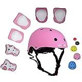 Lucky-M bambini 7 pezzi di sport outdoor Gear set bambine da ciclismo casco di sicurezza e set [ginocchiere, gomitiere e polsiere] rullo per scooter skateboard bicicletta ( 3 - anni Old ) (rosa)