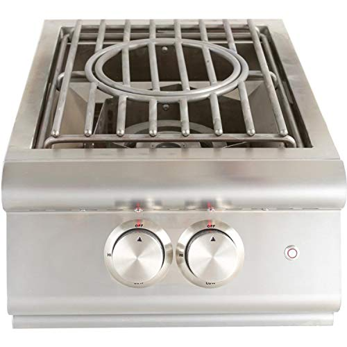 Blaze Premium LTE Built-in Natural Gas High Performance Power Burner W/Wok Ring & Stainless Steel Lid - BLZ-PBLTE-NG