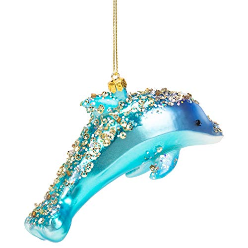 MIDWEST-CBK Blue Dolphin Glass Encrusted Christmas Holiday Ornament