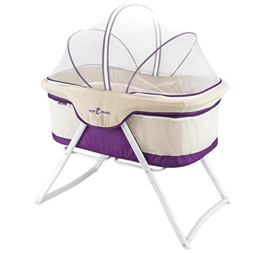 3-in-1 Baby Babybett Beistellbett Reisebett inkl. Moskitohaube, Matratze und Tasche - alle Farben (Violett)