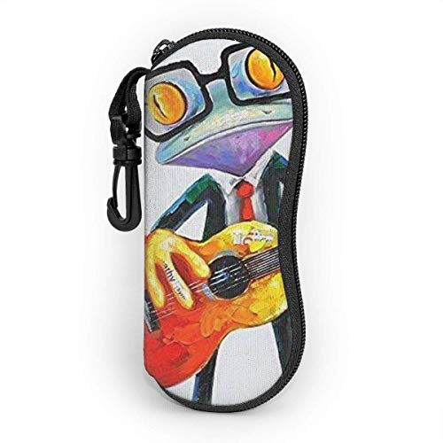 Frog Singer Waterproof and Durable Sunglasses and Eyeglasses Case Portable Travel Zipper Neoprene Glasses Storage Case for Glasses Eyeglasses Case with Carabiner