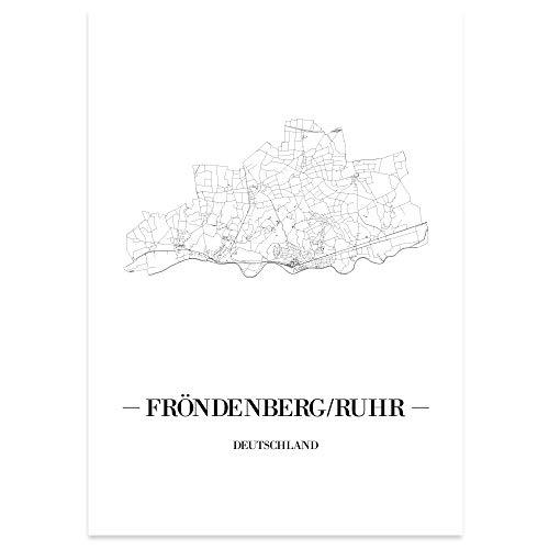 JUNIWORDS Stadtposter - Wähle Deine Stadt - Fröndenberg/Ruhr - 30 x 40 cm Poster - Schrift A - Weiß