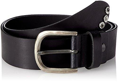Diesel Cinturón hombre B-THRE, cuero auténtico con hebilla metálica y tachuelas - Negro: : 100 cm