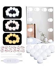 LED Vanity Spiegellampen, Hollywood Style USB Make-up Mirrior Strip Lights Kit met 10 dimbare LED-lampen, 3 kleuren modi 10 niveaus helderheid schoonheidsverlichting voor make-up Dressing spiegel