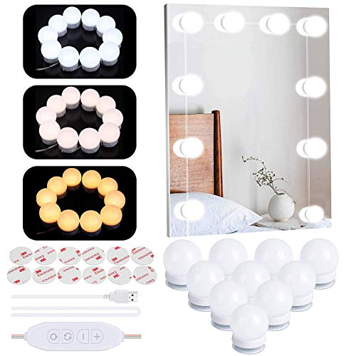 Luces para Espejo de Maquillaje LED Luces Tocador Estilo Hollywood, Luces LED Kit de Espejo con 10 Bombillas regulables 3 Modos de Color Luz Espejo Para Maquillaje Tocador Espejo Baño
