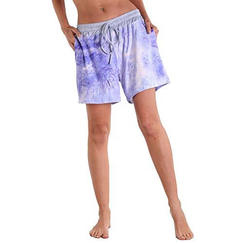 YANFANG Pantalones Cortos de Las señoras de la Yoga del hogar de los Deportes del Ocio al Aire Libre de la Aptitud del Surf de la Playa de Las Mujeres,Purple,L
