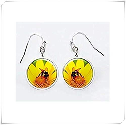 heng yuan tian cheng gele Daisy Bee oorbellen, honing bij op bloem oorbellen, honing bij oorbellen, hommel oorbellen