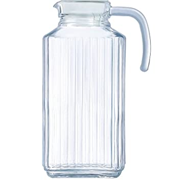 Circleware 66550 Glass Beverage Drink Pitcher with Lid and Handle, 63.4 Ounce Limited Edition Glassware Drinkware Water Juice Dispenser, Best Gift Idea, Frigo-Ribbed