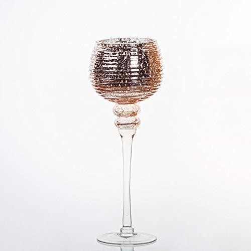 pille gartenwelt WIndlicht Glas Kelch Wind Lichter Set Vintage Rose Gold LED Timer Fernbedienung möglich wasserdicht IP 67 warmweiss (35 cm, ohne LED)