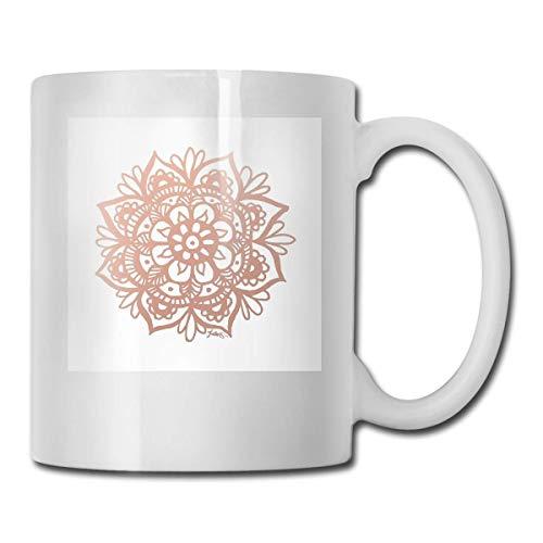 N\A Vasos de Cerámica Flor Mandala Oro Rosa Código 330ml
