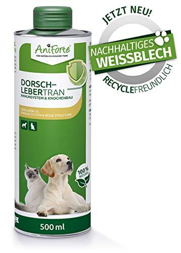 AniForte Dorschlebertran für Hunde & Katzen 500 ml - Natürliche Quelle, Barföl mit Vitaminen & Omega-3 Fettsäuren EPA & DHA, Unterstützung Knochenaufbau, Abwehrkräfte & Immunsystem