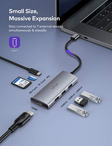 VAVA USB C Hub, 7-in-1 USB C Adapter for MacBook/Pro/Air (Thunderbolt 3), with 4K USB-C to HDMI, 3 USB 3.0 Ports, SD/TF Cards Reader, 100W Power Delivery Dock for iPad Pro/MacBook/Type C Devices