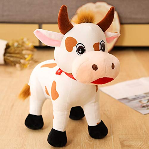 Turning Cute Cow Plush Toy Stuffed Animal Doll Soft Simulation Zodiac Cow Toy for Kids Creative Christmas Gifts Home Decoration Without Battery 35cm